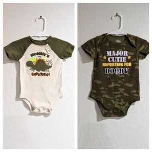 5 for $13 Shortsleeve Onesies Camo and Dinosaurs